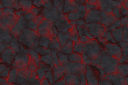 Continuous cracky pattern with  hot lava