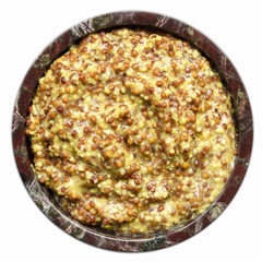 Wholegrain Mustard in Bowl Top View Isolated