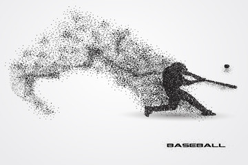 baseball player of a silhouette from particle