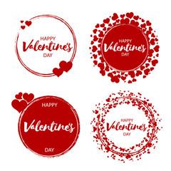 Set of vintage valentine's day love badges and labels