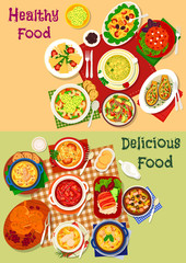 Russian cuisine soup and fresh salad icon set