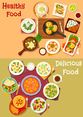Healthy lunch dishes with fruit dessert icon set