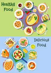 Nutritious dinner icon set for food theme design