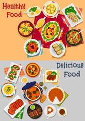 Dinner menu icon set with main dishes and dessert