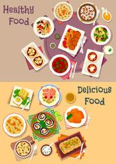 Dinner icon set of popular dishes for menu design