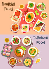 Meat dishes with seafood and veggies salad icon