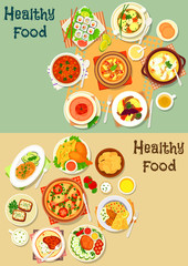 Popular lunch food icon set for menu design