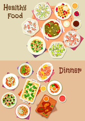 Tasty dinner dishes icon set for food theme design