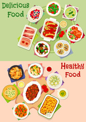 Dinner meal icon set for healthy food design