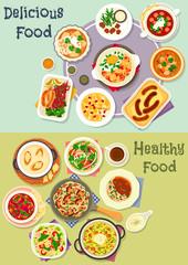 Tasty snacks icon set for menu or cookbook design