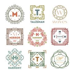 Geometric vintage abstract logo set