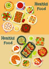 Healthy food icon set for cafe menu design