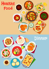 Lunch menu icon set with main dishes and dessert
