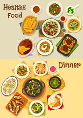 Dinner menu icon set for food theme design