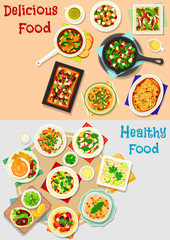 Tasty dishes for lunch menu icon set design