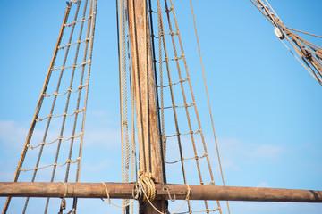 Rigging and ropes of ancient sailing boat