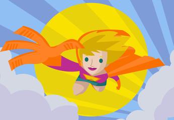 girl superhero hero flying in the sky
