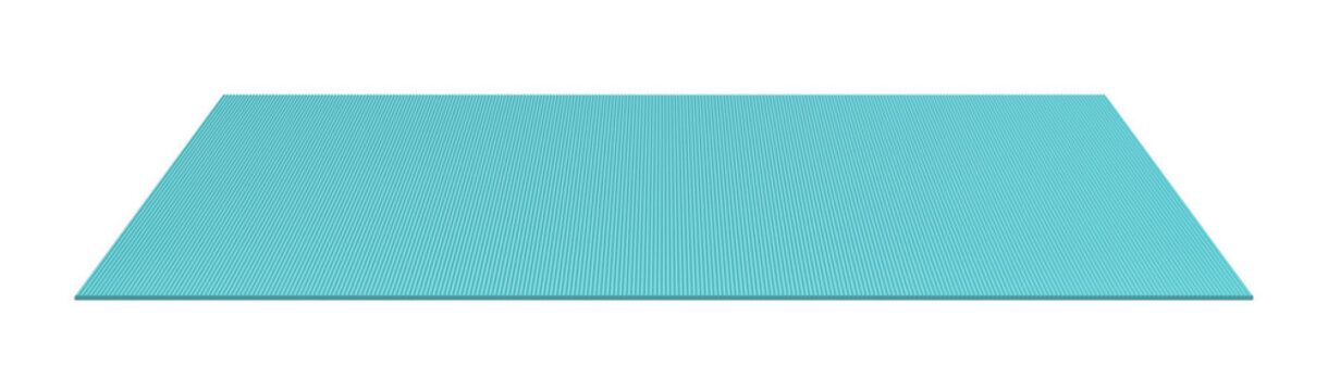 3d rendering of a blue rolled out yoga mat on white background.