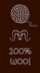 100% sheep's wool - vector illustration