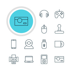 Vector Illustration Of 12 Technology Icons. Editable Pack Of Computer, Usb Card, Dvd Drive And Other Elements.