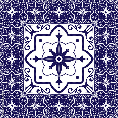 Blue white tiles floor - vintage pattern vector with ceramic