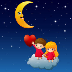 Cartoon children on the cloud with a heart and moon