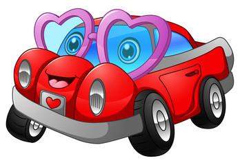 Cartoon car in love