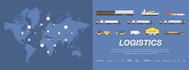 Set transport for transportation of goods. Land transportation, air and sea freight. Logistic concept flat vector illustration for business on a world map background.