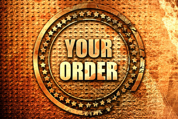 your order, 3D rendering, text on metal