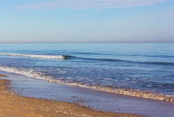 Wall Mural - Costa Blanca sandy beach in winter, Valencia region, Spain. Gentle waves bring shells on the beach.