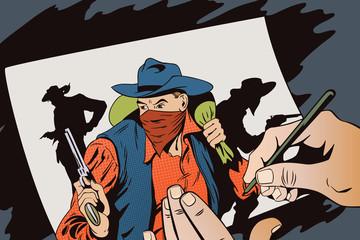 Foto op Aluminium Art Studio Robber running away with money. Cowboys wild west.
