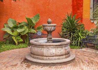 Orange Yellow Fountain Plaza Juarez Park Town Street Tourists Ho