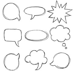 Vector big speech bubble set. Hand drawn.