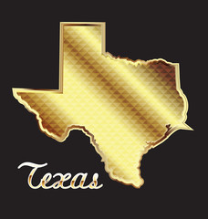 Gold texas state map