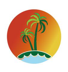 Logo tropical waves island vector