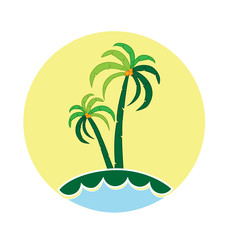Palm trees icon logo vector