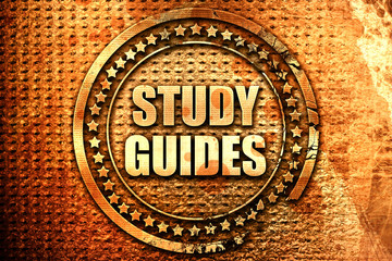 study guides, 3D rendering, text on metal