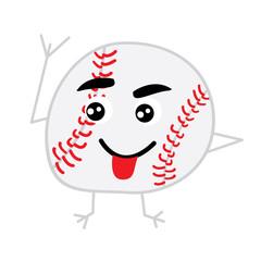 Cute Baseball Ball Cartoon Character.