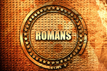 romans, 3D rendering, text on metal