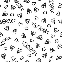Doodles cute seamless pattern.