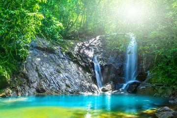 Tropical waterfall in the forest,Ton Chong Fa  in khao lak Phang