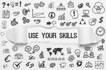 Use your Skills / weißes Papier mit Symbole