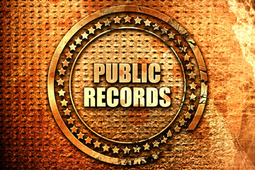public records, 3D rendering, text on metal