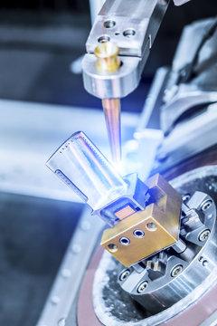 EDM machine handles aircraft engine turbine blade.
