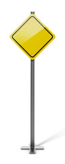 Yellow blank traffic sign isolated on white background. 3D illustration
