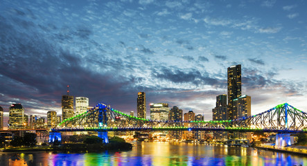 Bridge and skyscrapers in Brisbane at sunset