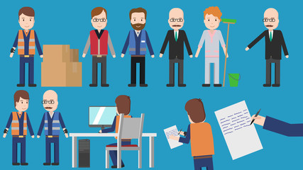 professions cartoon character set for explainer video
