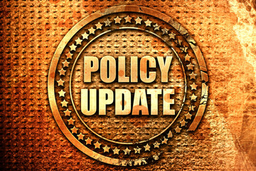 policy update, 3D rendering, text on metal