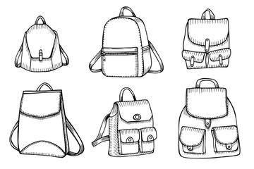 Set of Sketch Doodle Backpacks.