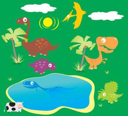 Vector Collection Cartoon Dinosaurs